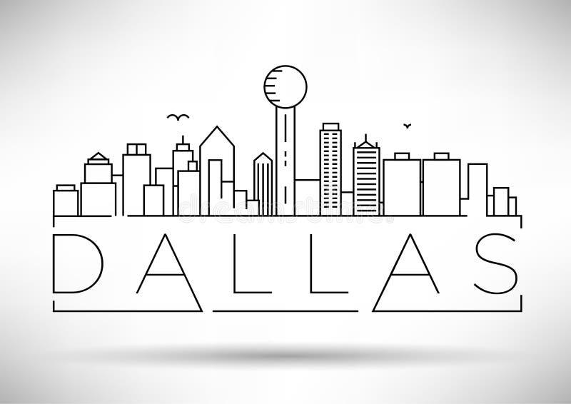 Skyline linéaire de Dallas City minimum avec conception typographique illustration stock