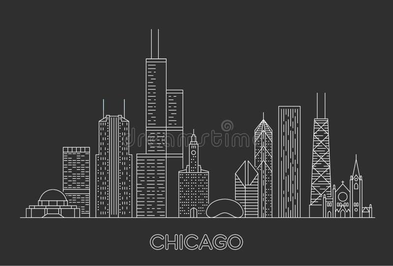 Skyline linear da cidade de Chicago ilustração stock