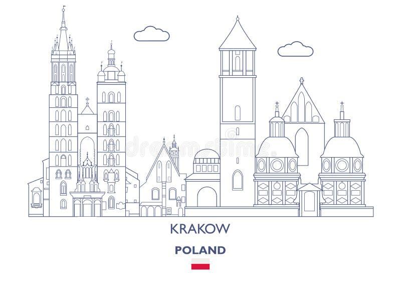 Skyline linear da cidade de Krakow, Polônia ilustração stock