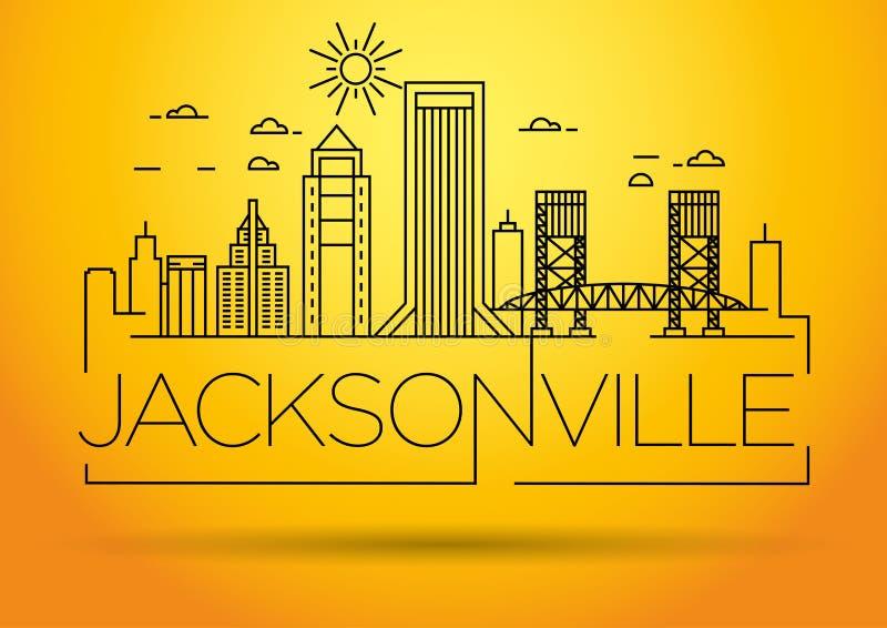 Skyline linear mínima da cidade de Jacksonville com projeto tipográfico ilustração do vetor