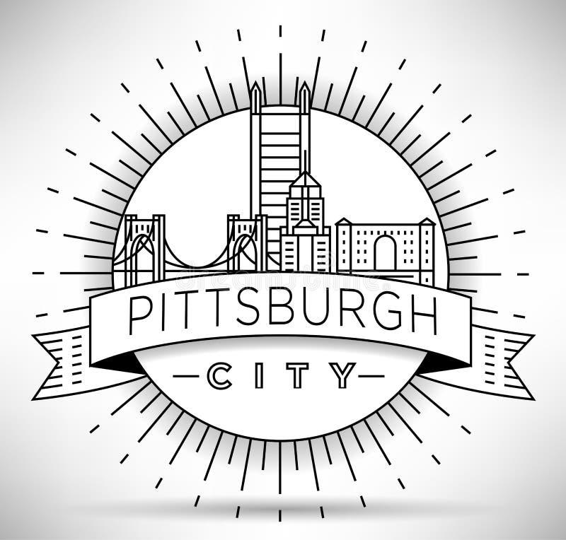 Skyline linear mínima da cidade de Pittsburgh com projeto tipográfico ilustração do vetor
