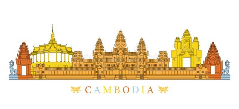 Skyline, linha e colorido dos marcos de Camboja ilustração do vetor
