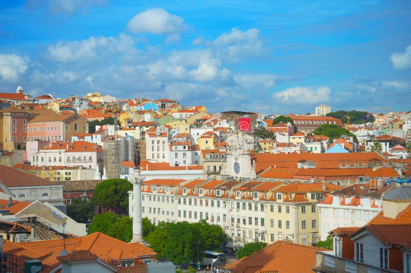 Skyline Lisbon Old Town Rossio stock image