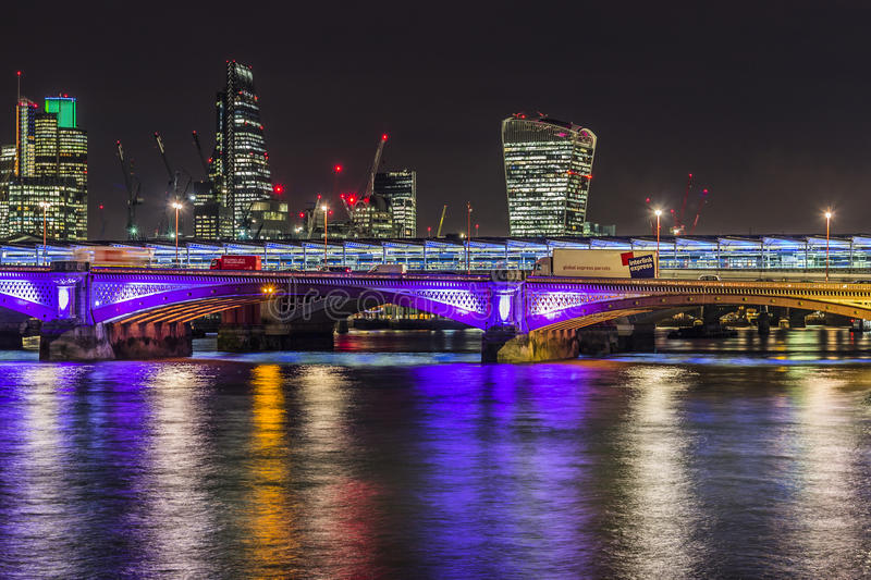 Skyline of London by night stock images