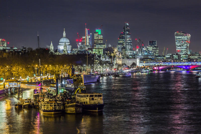 Skyline of London by night stock photos