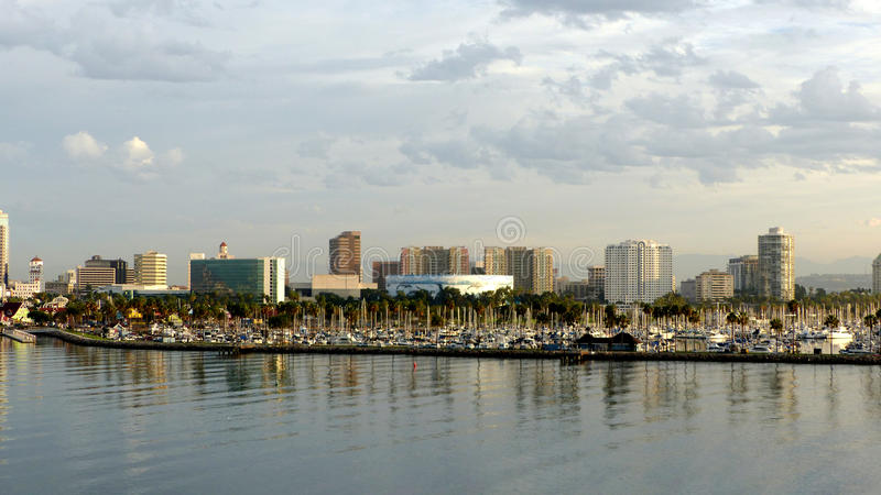Skyline of Long Beach. In Los Angeles County, City in California in the United States, overlooking the Aquarium of the Pacific and the marina, in front of the royalty free stock images
