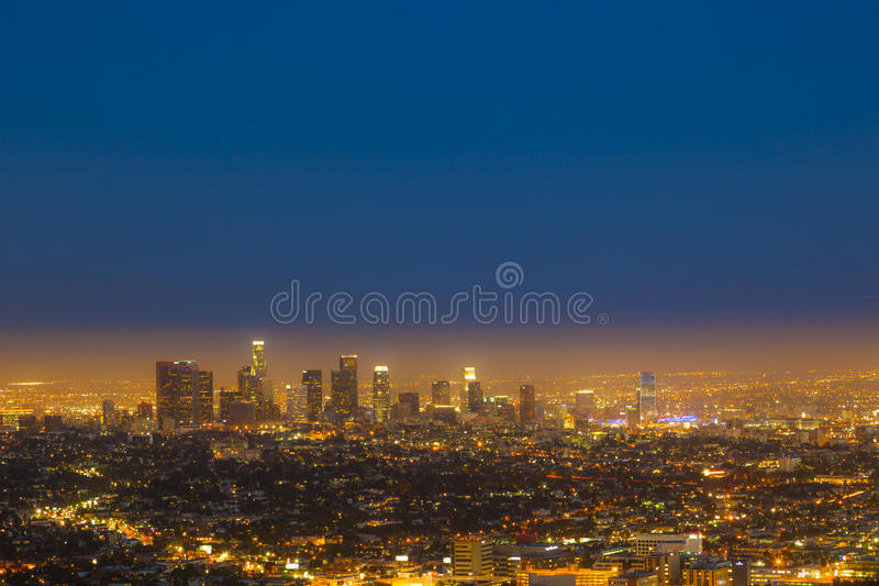 Skyline of Los Angeles by night. View of skyline of Los Angeles by night royalty free stock image