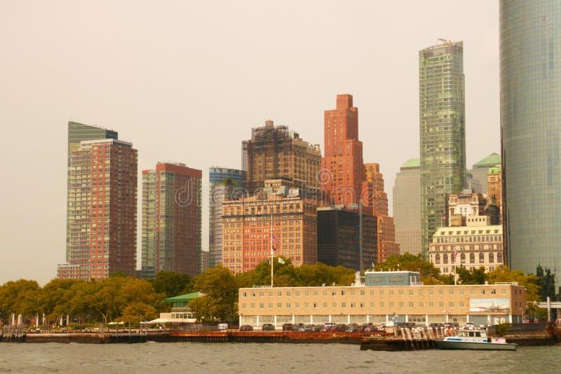 Skyline of lower Manhattan of New York City with World Trade Center.  royalty free stock photo