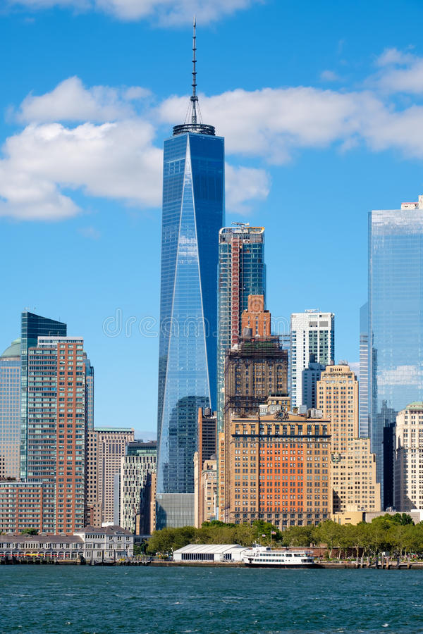 The skyline of lower Manhattan in New York. The skyline of lower Manhattan seen from the New York Harbor on a beautiful summer day royalty free stock photography