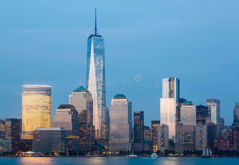 Skyline Of Lower Manhattan At Night Stock Photo