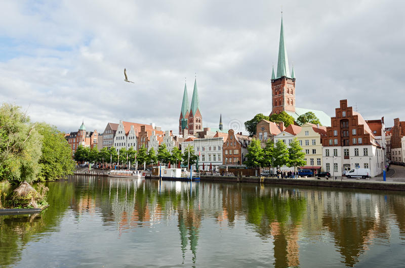 Download Skyline of Lubeck city stock image. Image of channel - 34269953