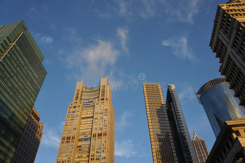 The skyline of Lujiazui in sunset royalty free stock image