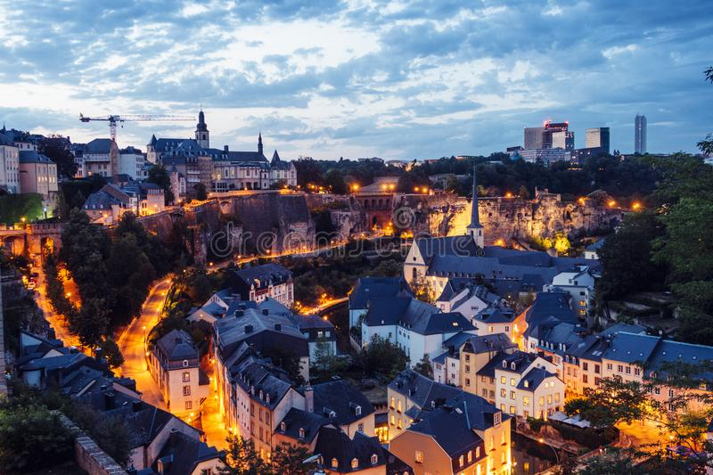 The Skyline of Luxembourg City at night. stock photography