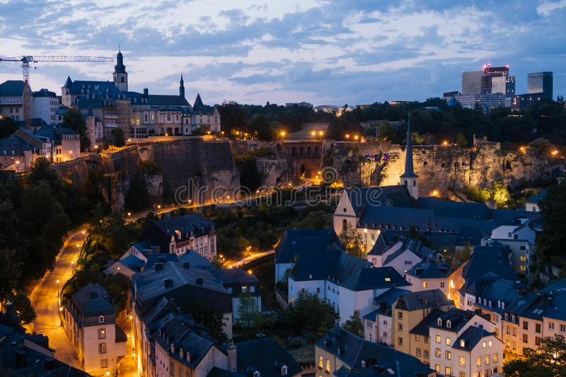 The Skyline of Luxembourg City at night. royalty free stock photos