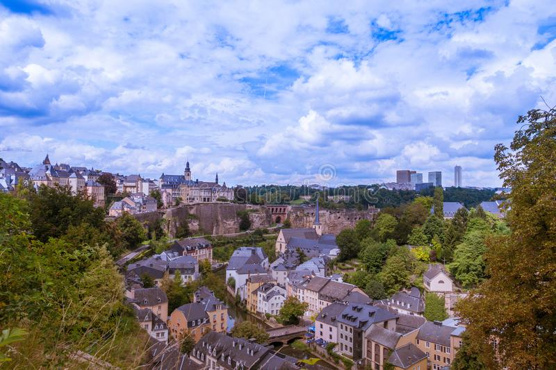 Skyline of Luxembourg City. Viewed over the Grund quarter from the Chemin de la Corniche promenade