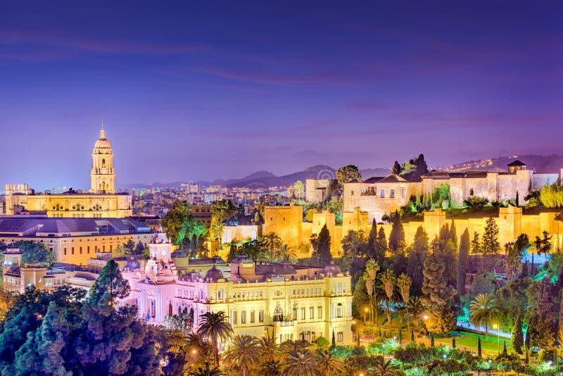 Skyline Màlagas, Spanien stockbilder