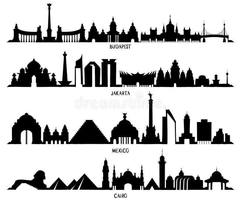 Skyline México, Budapest, Jakarta e Cairo ilustração royalty free
