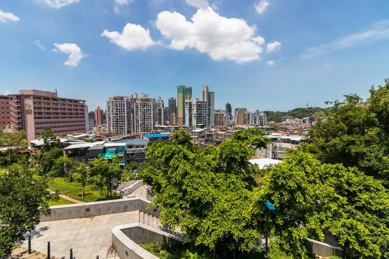 Skyline of Macau between nature, view from Fortress. Santo António, Macao, China. Asia stock photo