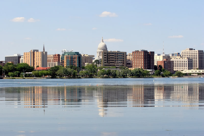 Skyline of Madison Wisconsin stock image