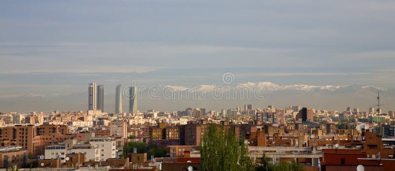 Skyline of Madrid stock images