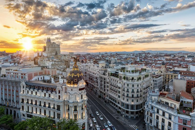 The skyline of Madrid, Spain. During sunset royalty free stock photography