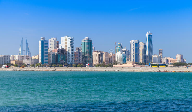 Skyline of Manama city, Bahrain, Middle East. Modern office buildings and hotels in the sunny day. Skyline of Manama city, Bahrain stock images