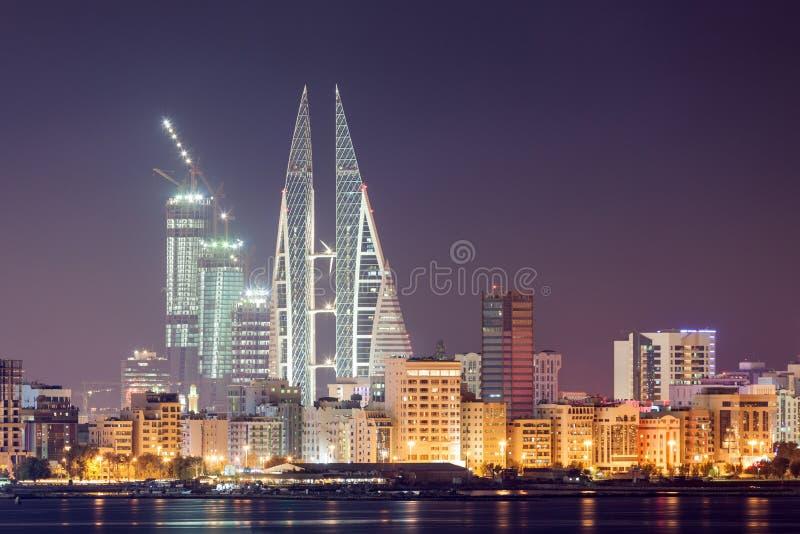 Skyline of Manama at night, Bahrain. Manama City skyline illuminated at night. Kingdom of Bahrain, Middle East royalty free stock photos