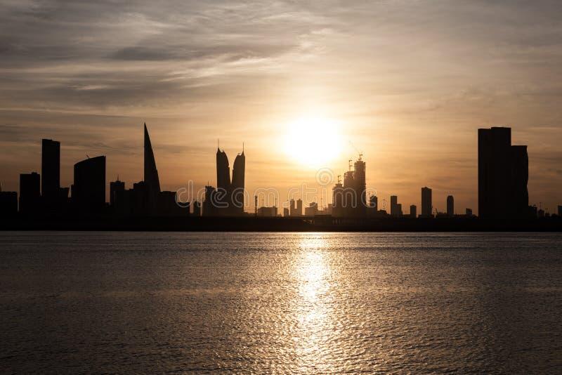 Skyline of Manama at sunset, Bahrain. Skyline of Manama City at sunset. Kingdom of Bahrain, Middle East stock photo