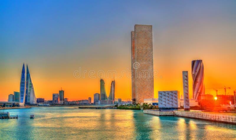 Skyline of Manama at sunset. The Kingdom of Bahrain royalty free stock photos