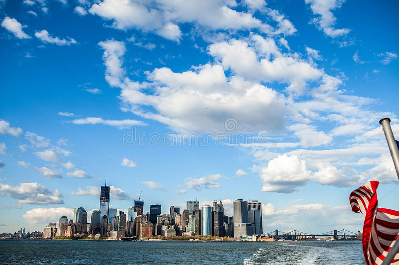 The skyline of Manhattan with boats stock image