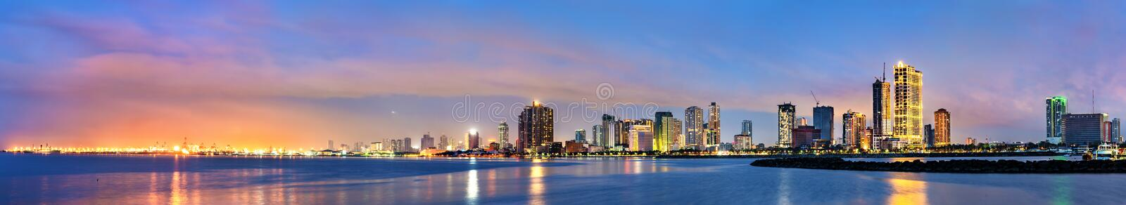 Skyline of Manila,the capital of the Philippines royalty free stock image