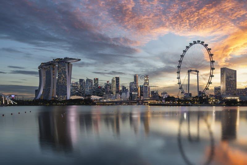 Skyline of Marina Bay at sunset, Singapore stock images