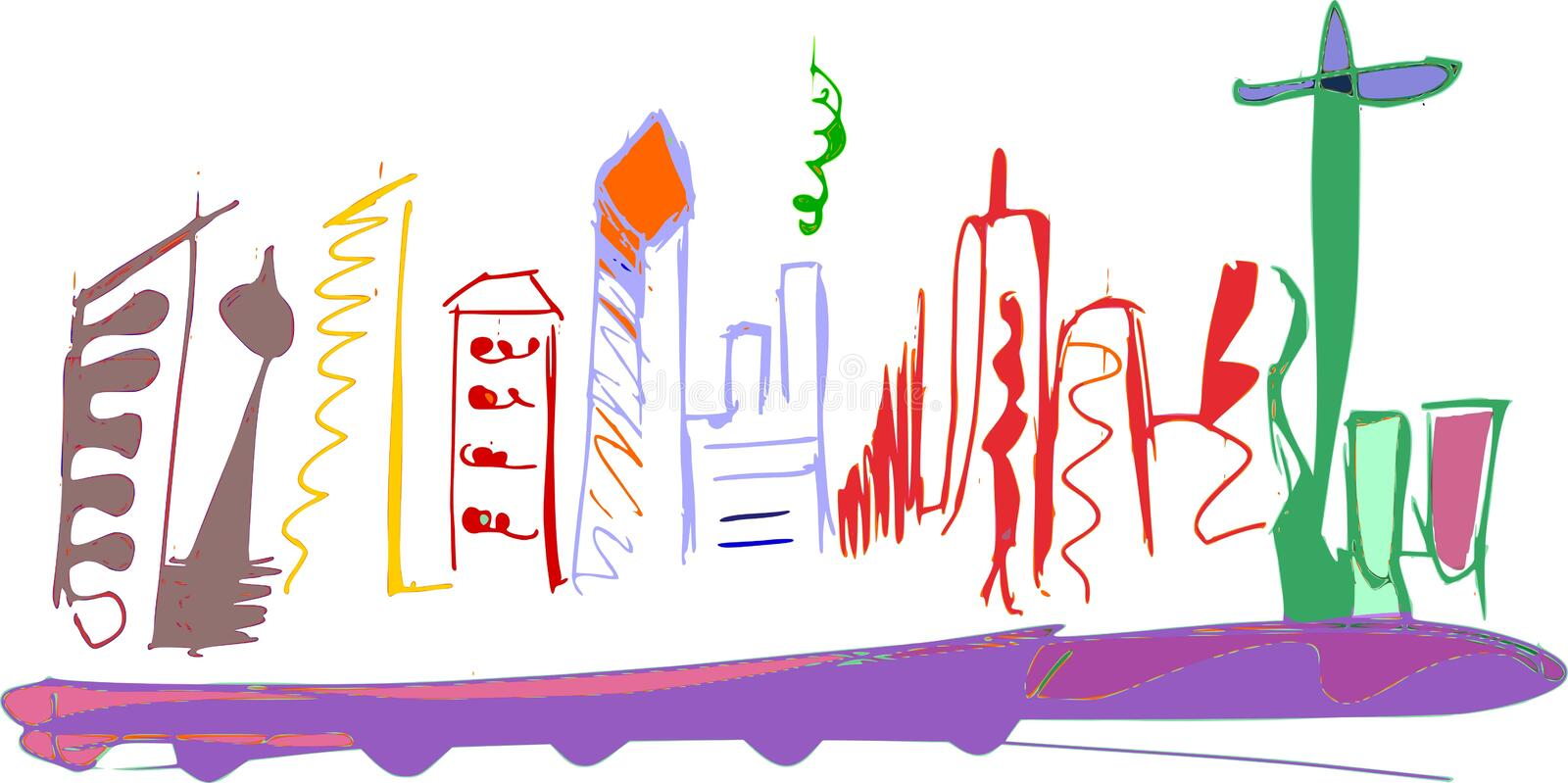 Hand drawn skyline of a messy city with a lot of colors royalty free illustration