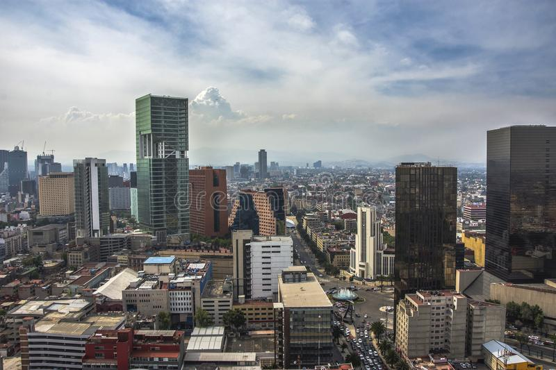 Skyline in Mexico City, aerial view of the city stock image