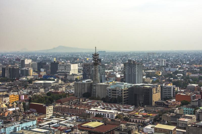 Skyline in Mexico City, aerial view of the city stock photo