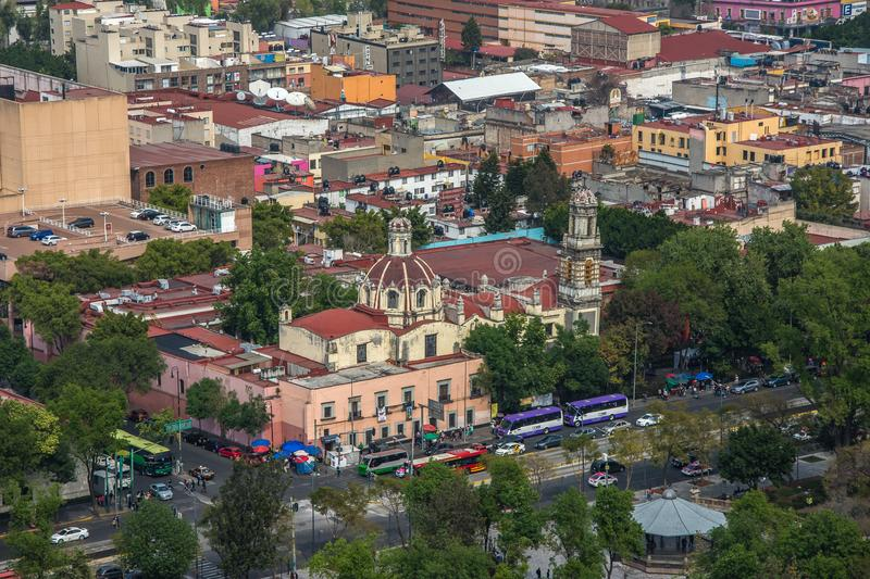Skyline in Mexico City, aerial view of the city royalty free stock images