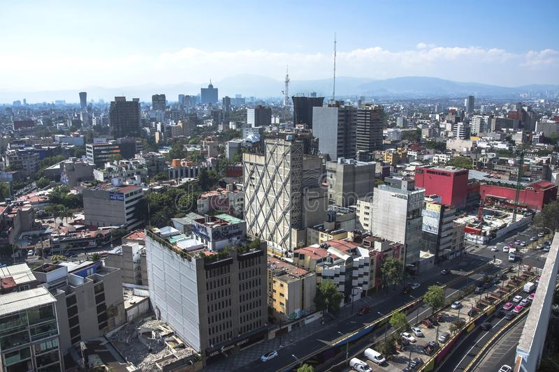 Skyline in Mexico City, aerial view of the city royalty free stock photos