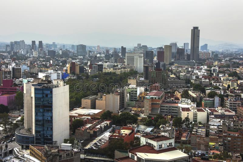 Skyline in Mexico City, Reforma aerial view at sunset time stock photography