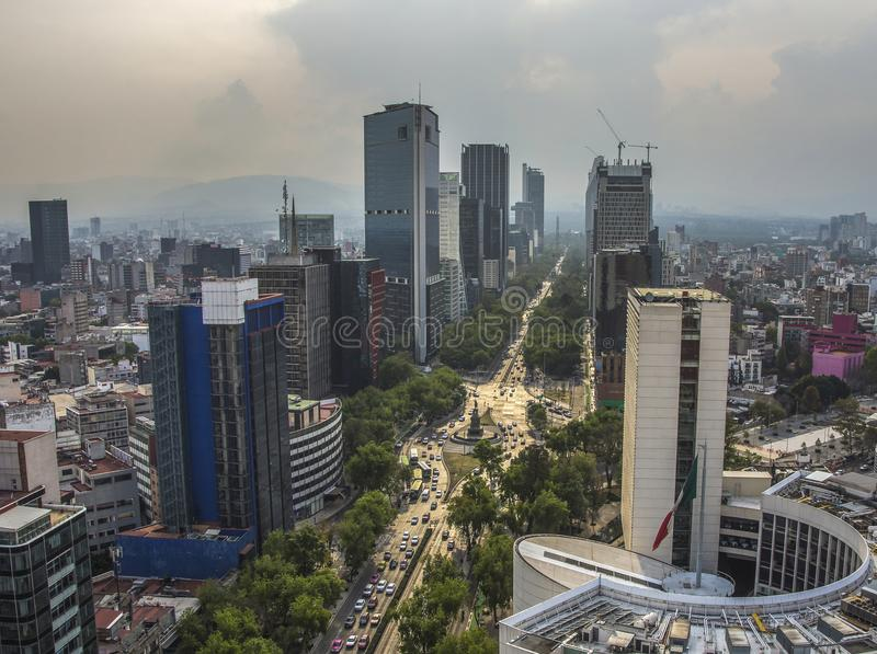 Skyline in Mexico City, Reforma aerial view at sunset time royalty free stock photo