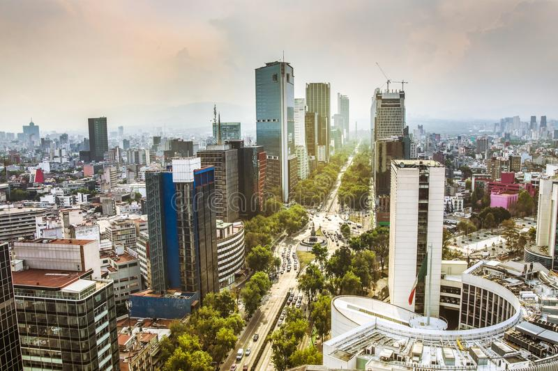 Skyline in Mexico City, Reforma aerial view at sunset time stock photo