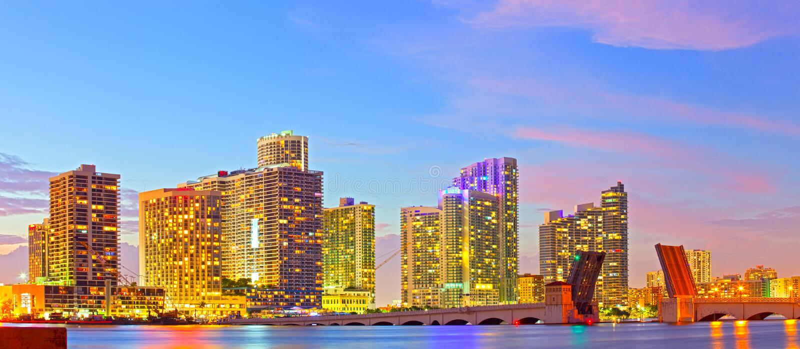 Skyline of Miami Florida stock photography