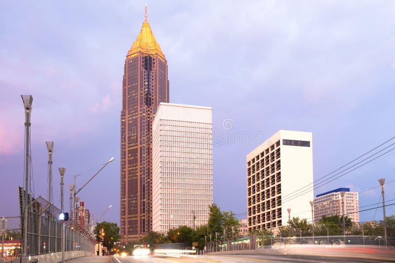 Skyline of midtown Atlanta at dusk. Georgia, USA stock photo