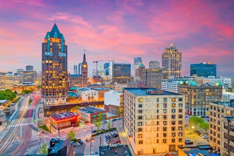 Skyline Milwaukee, Wisconsin lizenzfreies stockfoto
