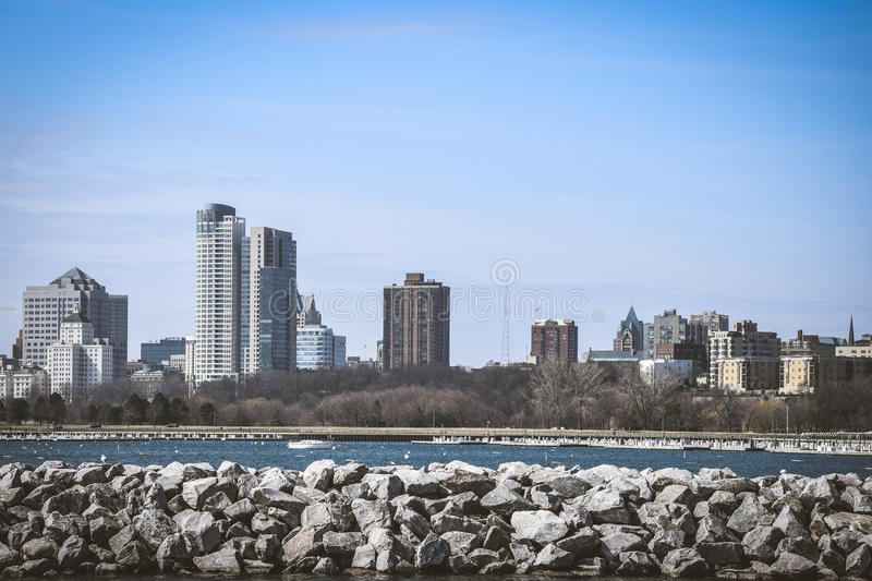 Skyline Milwaukee Wisconsin stockfoto