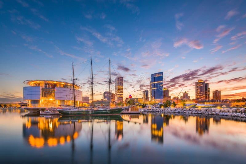Skyline Milwaukee, Wisconsin, USA stockbilder