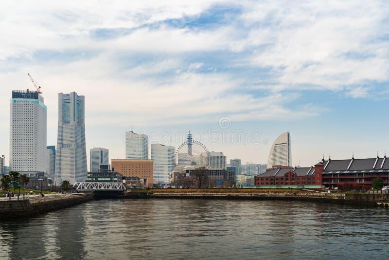 Skyline of Minatomirai, view from the bay in Yokohama, Japan royalty free stock photo