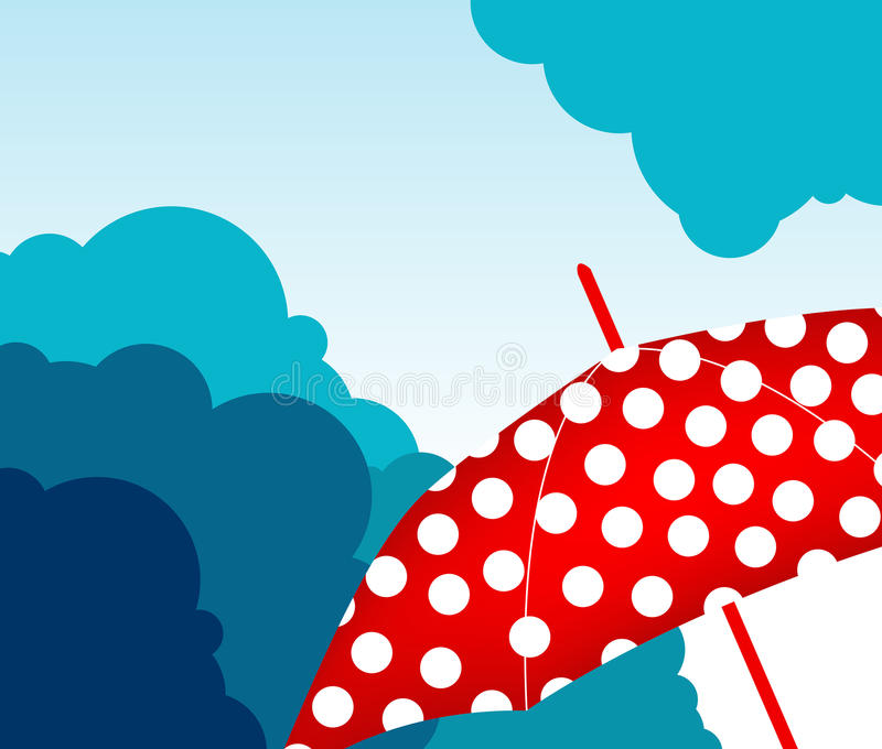 Skyline mit Regenschirm lizenzfreie abbildung