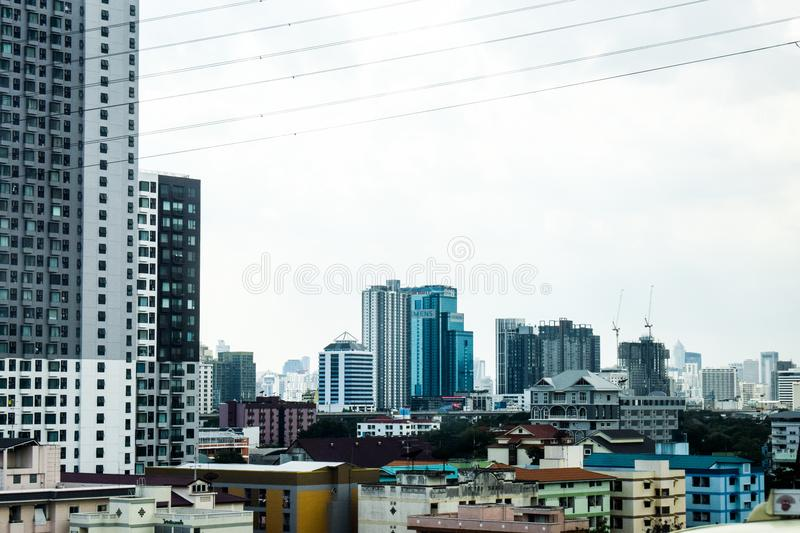 Skyline of modern city stock images