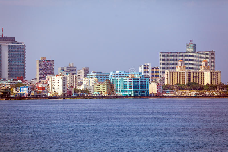 Skyline of modern Havana and Caribbean sea, Cuba royalty free stock image