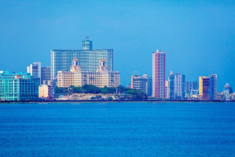 Skyline of modern Havana and Caribbean sea, Cuba royalty free stock photography